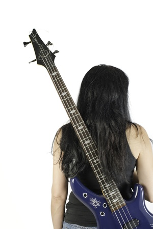 Woman with bass guitar on white background photo