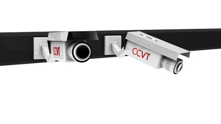 deterrent: 3d white  security cameras on white background