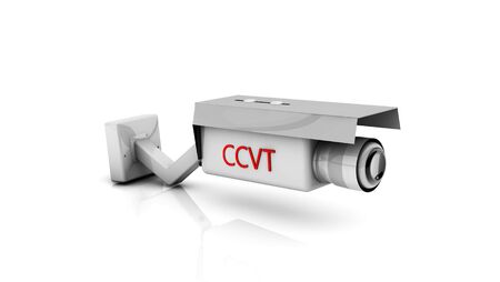 deterrent: 3d white security camera on white background