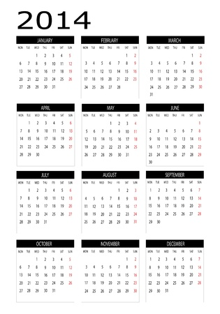 Calendar 2014 in english Vector