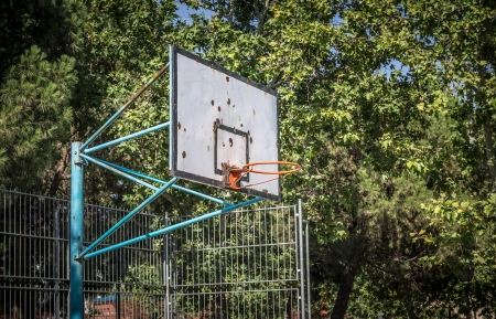 Outdoor basketball surrounded by trees on a blue day photo