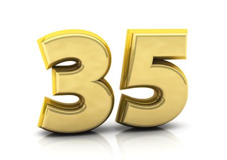 thirty five: 3d numero trentacinque in oro su sfondo bianco