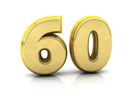 3d number sixty in gold on white background Stock Photo