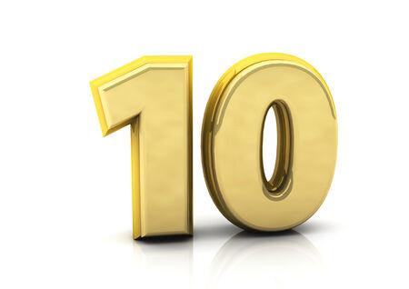 numero diez: 3d el n�mero diez en oro sobre fondo blanco