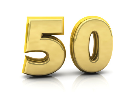 fifty: 3d number fifty in gold on white background