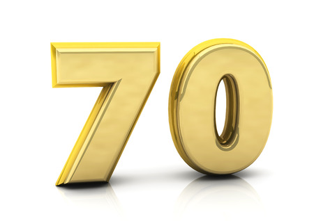 3d number seventy in gold on white background photo