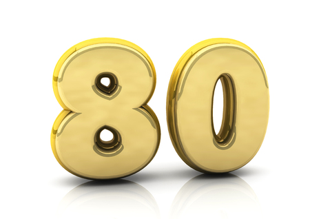 3d number eighty in gold on white background photo