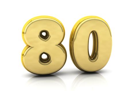 achtzig: 3d Zahl achtzig in Gold auf wei�em Hintergrund