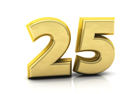 3d number twenty five in gold on white background photo