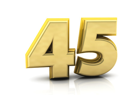 forty: 3d number forty five   in gold on white background Stock Photo