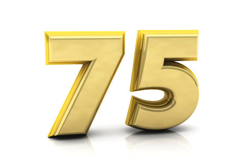 3d number seventy five in gold on white background photo