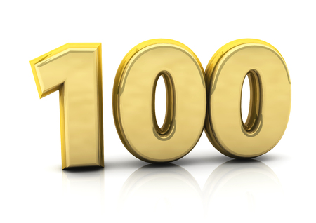 3d number hundred in gold on white background photo