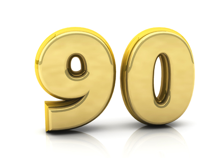 ninety: 3d number ninety in gold on white background Stock Photo