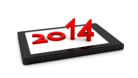 New year 2014 in a tablet photo