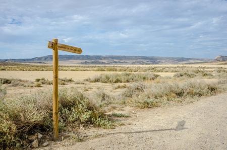 biosphere: The Bardenas Reales biosphere reserve, desert landscape in Navarre  Stock Photo
