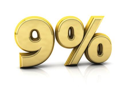 3d nine  percent gold on white background photo