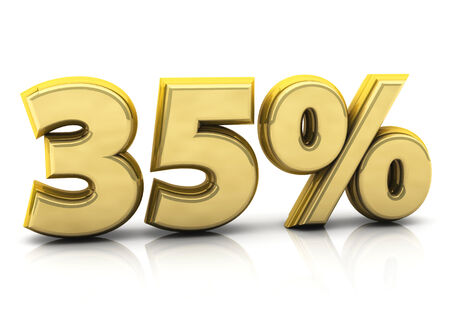 thirty five: 3d gold thirty five percent on white background Stock Photo