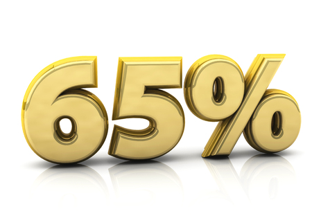 numerical value: 3d gold sixty five percent on white background