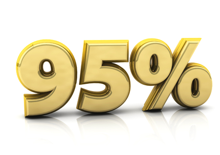 numerical value: 3d gold ninety five percent on white background Stock Photo