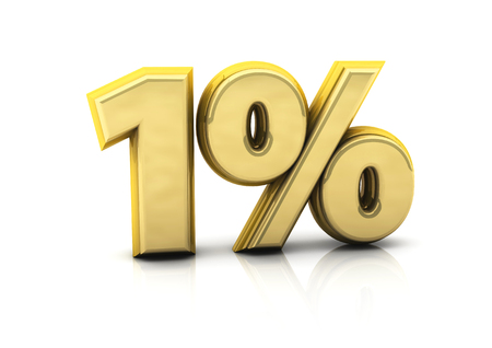 3d one percent gold on white background Stock Photo