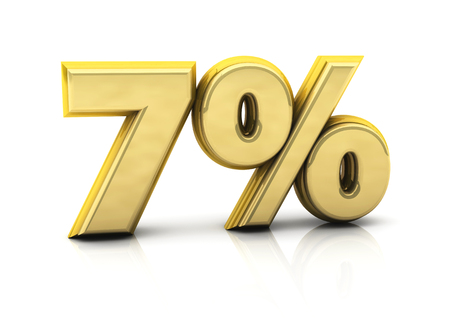 3d seven percent gold on white background photo
