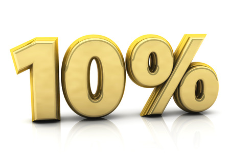 3d ten percent gold on white background photo