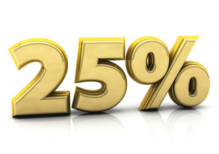 3d gold twenty five percent on white background photo