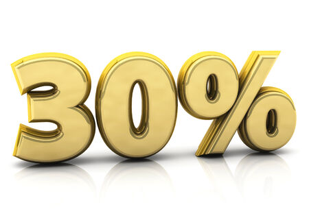 thirty: 3d thirty percent gold on white background