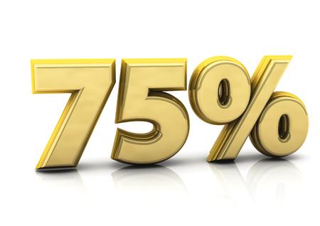 seventy: Dell'oro 3d settantacinque per cento su sfondo bianco