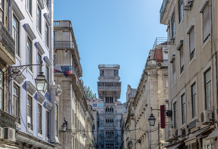 carmo: Lisbon Buildings in the background the famous Santa Justa Elevator Stock Photo