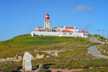 Lighthouse in Cabo da Roca, Portugal, the most western point of Europe  photo