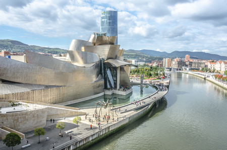 BILBAO, SPAIN - OCTOBER 13  The Guggenheim Museum in Bilbao on october 13,2012 in Bilbao,Spain  The Guggenheim is a museum of modern and contemporary art designed by Canadian-American architect Frank Gehry