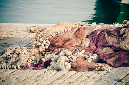 Fishing nets in the port of santurtzi, Spain photo