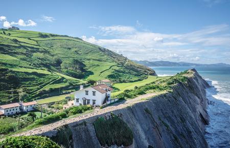 Cliffs in Zumaia on a basque coast, Spain photo