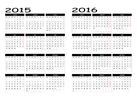 intentie: 2015 en 2016 kalender