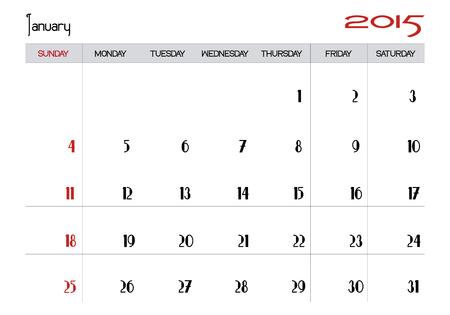 January 2015 calendar Stock Vector - 28871501