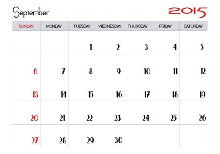 September 2015 calendar Stock Vector - 28871530