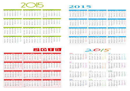 Four different calendars 2015 Stock Vector - 28871542