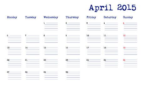 4월: April 2015 calendar in english 일러스트