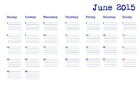event planning: June 2015 calendar in english Illustration