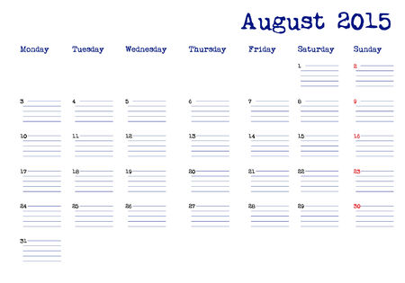 event planning: August 2015 calendar in english