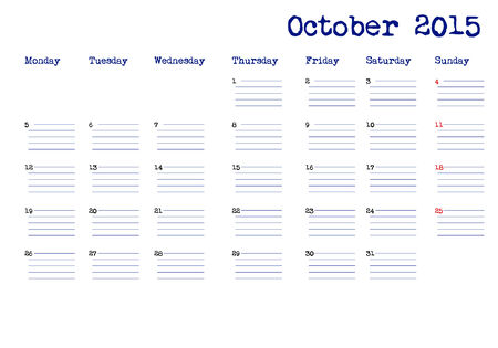 event planning: October 2015 calendar in english