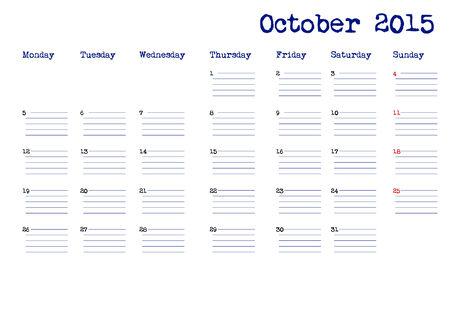 październik: Październik 2015 kalendarz w języku angielskim