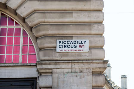 piccadilly: Sign Piccadilly Circus W1 city of westminster