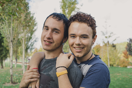 two: Loving gay couple in outsite