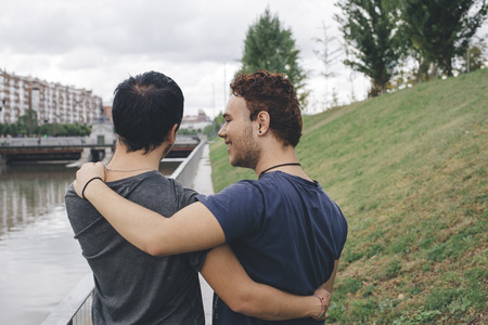 gay love: Loving gay couple in outsite