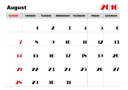 agosto: Calendario Agosto 2016 Vettoriali