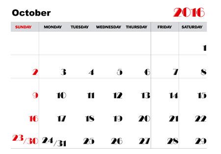 kalender oktober: Kalender oktober 2016