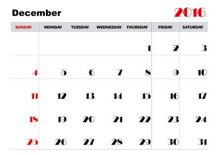 in december: Calendar december 2016 Illustration