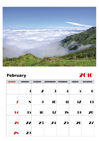 event planning: Calendar february 2016 Illustration